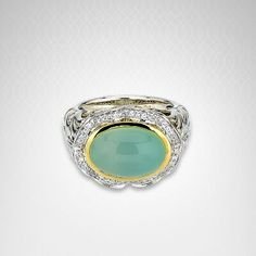 Charles Krypell Lime Onyx #Ring in 18K #Gold and Sterling Silver
