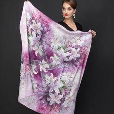 Veľká luxusná hodvábna šatka - 110 x 110 cm - Silk Shawl, Silk Scarves, Pattern Fashion, Womens Scarves, Floral Prints, Hair Accessories, Clothes For Women, Outfit, Free Shipping