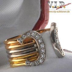 CARTIER DOUBLE C BAND RING DIAMONDS DIAMOND RING 18 K 750 TRINITY GOLD Sz. 48 #Cartier
