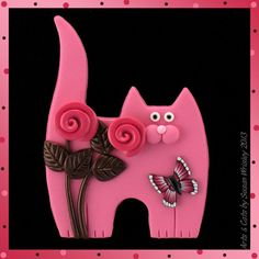 Standing Pink Kitty Cat, Pink Brown Roses & Butterfly Pin