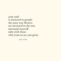 Your soul is attracted to people the same way flowers are attradcted to the sun, surround yourself only with those who want to see you grow. The Words, More Than Words, Cool Words, Poem Quotes, Words Quotes, Life Quotes, Sayings, Qoutes, Typed Quotes