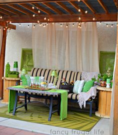 """Cabana"" Patio Makeover with DIY Drop Cloth Curtains 