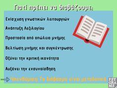 Γιατί πρέπει να διαβάζουμε; Πώς μπορούμε να διαβάζουμε περισσότερα βιβλία μέσα στον χρόνο; Παρακάτω ακολουθούν  κάποια Psygrams tips #Challenge yourself #neverstopreading  #psygrams Psychology, Coaching, Tips, Psicologia, Training, Counseling