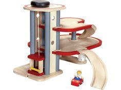Holz Parkhaus von Plan Toys, Höhe 33 cm, Breite 49 cm, Tiefe 36 cm