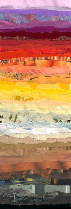America by Grace Breyley: torn paper landscape. could be in fabric also, love the stripes. Thinking of creating a torn paper collage for the bedroom Photomontage, Art Du Collage, Paper Collages, Color Collage, Landscape Quilts, Collage Landscape, Torn Paper, Art Design, Art Plastique