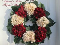 This Hydrangea Wreath makes a perfect Wreath as it not only suitable for the Holidays ,it can be displayed throughout the year as well. It is a very Stately,Classic addition to your Home Decor
