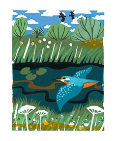 Kingfisher - screenprint by Carry Akroyd