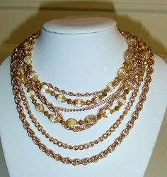 956~Vintage Gold Tone Mult-Strand Chain Faceted Crystal Bead Choker Necklace** #Chain