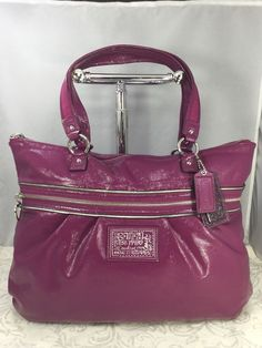 6496fac48f9 Coach Poppy Purple Pink Patent Leather Bag Tote Carry All Weekender Handbag  | eBay