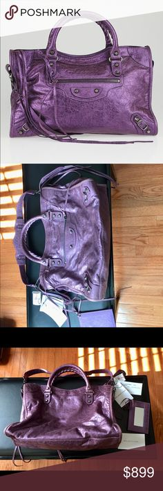 Balenciaga city bag, nwt, metallic purple. New with tag, Balenciaga classic city, color: metallic purple. Silver hardware. Size: 15x10x5inches. Bought from NeimanMarcus. Without its original dust bag. Will come with a kate spade dust bag. Balenciaga Bags