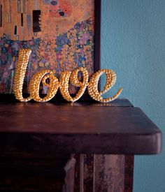 Dollar Store Crafts | Letter Art with Thumb Tacks