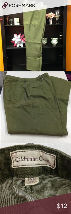 "Coldwater Creeks Jeans Green colored Coldwater Creek jeans. Inseam is 32"". In excellent condition and from a smoke free home. Coldwater Creek Jeans Boot Cut"