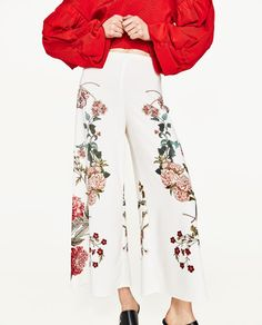 New Woman Fashion White Culottes with floral print Side zip Wide LEG LOOSE Cropped Trousers Casual Formal Dresses, Modest Dresses, Dance Dresses, Pretty Dresses, Pantalon Streetwear, Printed Trousers, White Trousers, White Culottes, Cropped Trousers