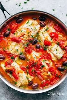 Seared Fish With Tomatoes & Olives is a family favourite and weeknight stapl. - -Pan Seared Fish With Tomatoes & Olives is a family favourite and weeknight stapl. Italian Fish Recipes, Cod Fish Recipes, Seafood Recipes, Cooking Recipes, Healthy Recipes, White Fish Recipes, Baked Cod Recipes, Cod Loin Recipes, Thai Curry Recipes