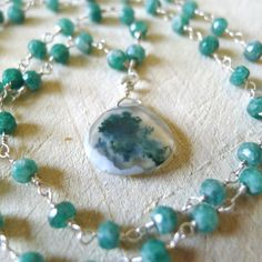"""18"""" Natural Raw Emerald Bead Rosary Necklace with Moss Agate Pendant by 137point5"""