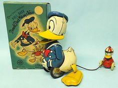 Vintage 1955 Linemar Donald Duck w Voice Huey Tin Wind Up Toy Box | eBay