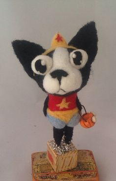 Wonder Woman boston tterrier ooak art doll by papermoongallery, $69.00