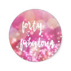4223271a7230 40   Fabulous 40th Birthday Glamour Classic Round Sticker  40thBirthday  Fødselsdagsgaver