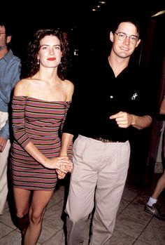 Lara Flynn Boyle and Kyle MacLachlan during ABC Network 1990 Fall TCA Press Tour at Century Plaza Hotel in Los Angeles, California, United States.