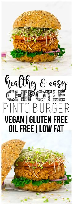 Chipotle Pinto Burgers Easy Chipotle Pinto Bean Veggie Burgers (Vegan Gluten-Free Low-Fat Oil-Free) Source by anniemarkowitz Vegan Recipes Easy, Veggie Recipes, Whole Food Recipes, Low Fat Vegetarian Recipes, Free Recipes, Homemade Veggie Burgers, Delicious Recipes, Pinto Bean Recipes, Vegan Pinto Bean Burger Recipe