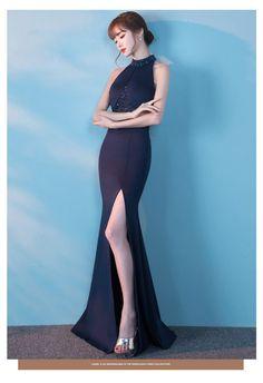 3d97d15dfa69e 着痩せホルタネックボディコンマーメイドタイトロングイブニングドレス