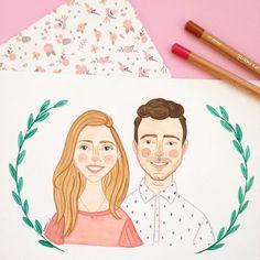 Ilustração Portrati casal - Ilustração em aquarela por @helloluizaillustrations