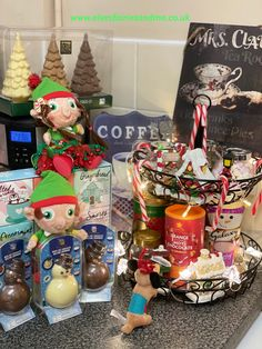 Our tiered tray has been filled up as a hot chocoate stand. Elf On The Shelf, Hot Chocolate, Gingerbread, Tray, Christmas, Xmas, Crockpot Hot Chocolate, Ginger Beard, Weihnachten