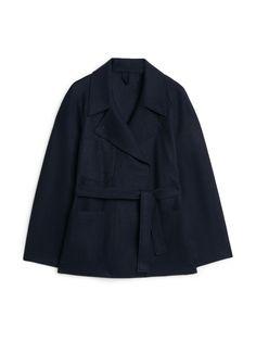 Belted Wool Jersey Jacket - Dark Blue - Jackets & Coats - ARKET GB