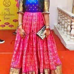 Kanjivaram Banaras long gown with yoke part work Dispatch time days Rc Long Gown Dress, Long Frock, Dress Indian Style, Indian Outfits, Blouse Styles, Blouse Designs, Diwali Outfits, Indian Fashion, Women's Fashion
