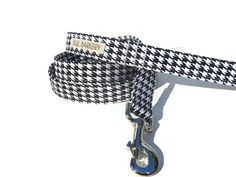 Dog leash - Black and white houndstooth print - Any size