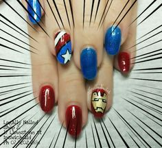 Captain america iron man nail art