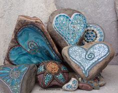 """Teals"" Mosaic Garden Stones 