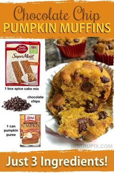 3 Ingredient Chocolate Chip Pumpkin Muffins Recipe These are SO GOOD! And made with just 3 ingredients. Cake mix is perfect for making moist and delicious bread and muffins. Super quick and easy! Dessert Simple, Pumpkin Chocolate Chip Muffins, Pumpkin Loaf, Canned Pumpkin, Cheese Pumpkin, Healthy Pumpkin Bread, Pumpkin Cookies, Cake Mix With Pumpkin, Chocolate Cake