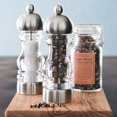 Peugeot Senlis Adjustable Salt and Pepper Mills. Absolutely love that they are adjustable!!