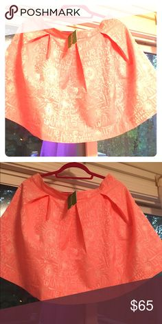 NWT harlie skirt word on the street Stunning Lilly Pulitzer skirt! It has the names of various streets in palm beach on it! Beautiful peach like color. Lilly Pulitzer Skirts A-Line or Full