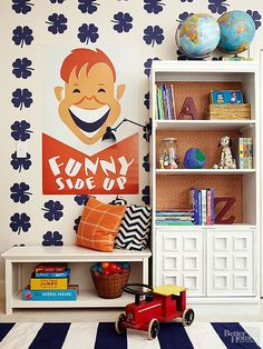 Update your boring bookcase with paint and wallpaper.