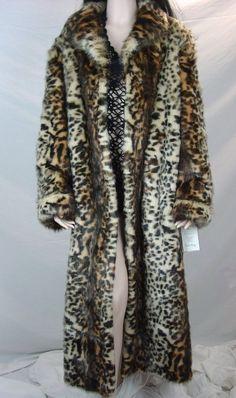 Stunning Pamela McCoy Leopard Faux Fur Coat Women's Full Length Jacket Long L #PamelaMccoy #BasicCoat #All