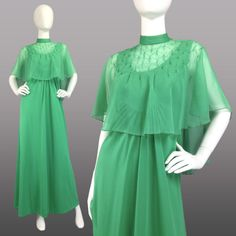 VINTAGE-70s-Seafoam-Green-MAXI-DRESS-w-EMBELLISHED-CHIFFON-Evening-Cape-XS-S