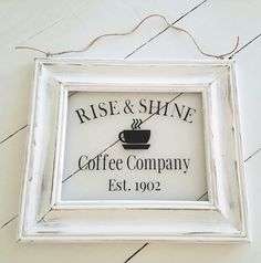 Rustic Coffee Picture Frame Sign. Rustic decor, housewarming gift, rustic kitchen sign, coffee signs, coffee lover gift, coffee decor by LoveTheJunk on Etsy