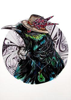 Tui bird watercolour painting/ illustration by www.fiona-clarke.com
