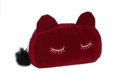 Sleepy Cat Coin Purse Pencil Cosmetic Pouch Bag [Red] | Features a Sleepy Cat Eyes, Ears, and Tail Zipper! Great for Carrying Money, Credit Cards, Wallet. Great for School Pens, Crayons, Pencils.  Seller: Merchant Mike - 30 Days Money Back Satisfaction Guaranteed!