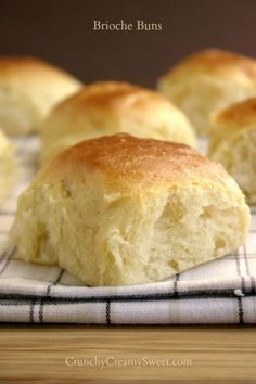 Brioche Buns - The ultimate fluffy buns - Brioche Buns. Rich yeast dough enhanced with sugar, eggs and butter. Perfect for using instead of plain hamburger buns for dinner or smothered with butter and jam for a great breakfast.