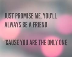 """""""Just promise me, you'll always be a friend ...'Cause you are the only one""""  Ed Sheeran - One"""