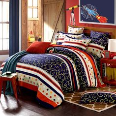 Dark Blue Red and White Stripe Print Fantasy Pattern Retro Western Style 100% Brushed Cotton Full, Queen Size Bedding Sets
