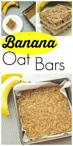 Healthy Snacks For Kids These Banana Oat Bars are gluten-free, dairy-free, and nut-free and they make a great portable snack or breakfast option. Super easy, one-bowl recipe. - These bars are vegan, nut free and GF! Great for a healthy snack! Breakfast Options, Breakfast Recipes, Snack Recipes, Cooking Recipes, Healthy Recipes, Breakfast Cookies, Recipes With Bananas Healthy, Overripe Banana Recipes, Ripe Banana Recipes Healthy