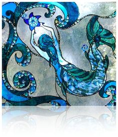 Whalebone Watercolors Artwork Stained glass by Alaskan artist Karla Morreira Stained Glass Paint, Stained Glass Designs, Stained Glass Panels, Stained Glass Projects, Stained Glass Patterns, Mermaid Glass, Mermaid Art, Mermaid Quilt, Sea Glass Art