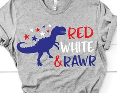 Fourth Of July Shirts For Kids, Fourth Of July Pics, Funny 4th Of July, Family Shirts, Boys Shirts, Cool T Shirts, Patriotic Shirts, Patriotic Crafts, Dinosaur Shirt
