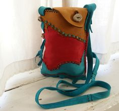 COWGIRL deerskin leather Purse with TURQUOISE, ANTLER, vintage beads. $140.00, via Etsy.