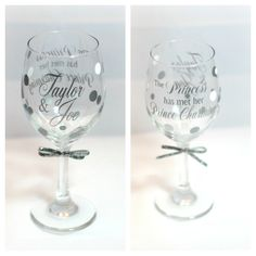 White and silver request for a wedding this summer! Very Elegant.but difficult to photograph at at night! Custom Wine Glasses, Personalized Wine Glasses, Photograph, Night, Elegant, Tableware, Summer, Wedding, Photography
