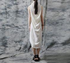 vintage dress irregular women linen white  long dress   AOLO-110